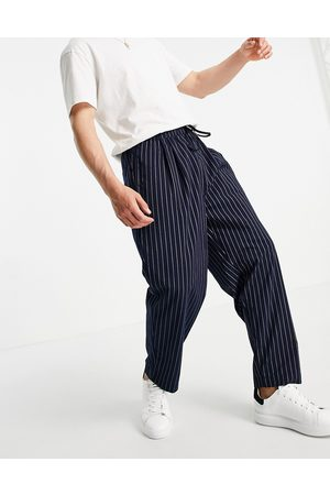 ASOS Wide leg trousers with pleats in navy pin stripe