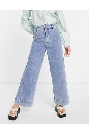 & OTHER STORIES Organic cotton stitch detail wide leg jeans in blue