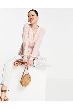 VERO MODA Ženy Zavinovací - Aware peplum wrap blouse in pink