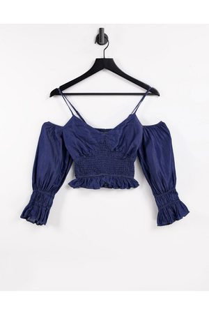 Urban Bliss Sheered off shoulder top in blue