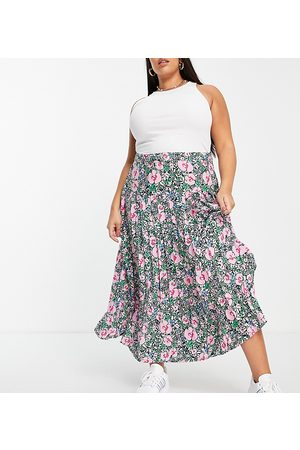 Neon Rose Ženy Midi - Midi pleated skirt with front split in bright floral-Pink