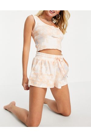Cotton On Co-ord super soft sleep shorts in pink tie dye print