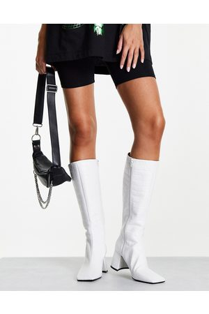 Topshop Tula leather mid knee high boot in white