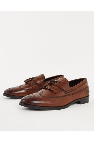 ASOS Muži Nazouváky - Loafers in tan polished leather-Brown