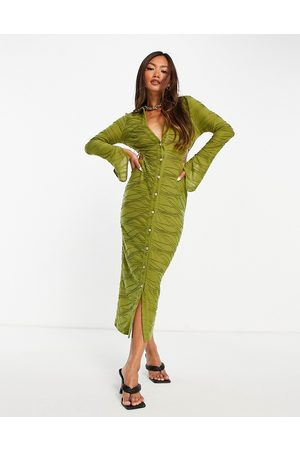ASOS Cut out shirt bodycon midaxi dress in olive green