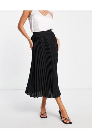 ASOS Ženy Midi - Pleated midi skirt in black