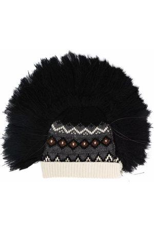 JUNYA WATANABE Ženy Čepice - Faux fur-trimmed knitted beanie