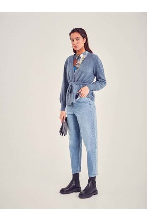 Ichi Modré dámské zkrcené mom džíny