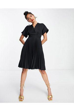 Closet Wrap front pleated midi skater dress in black