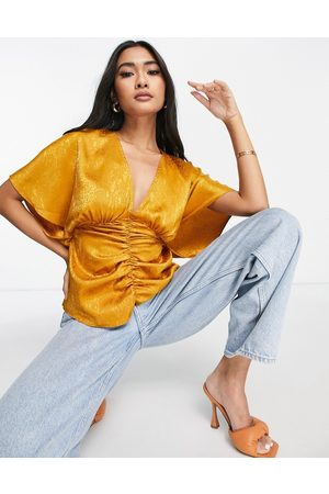 ASOS V neck kimono top with gather and ring detail in gold