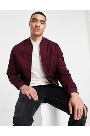 ASOS Essential bomber jacket in burgundy-Red