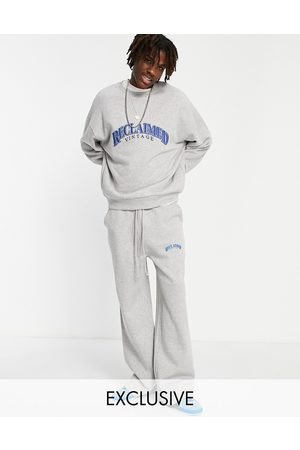 Reclaimed Inspired unisex baggy dad joggers with contrast logo in grey marl co-ord