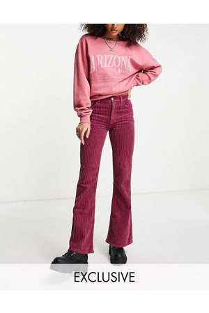 Reclaimed Inspired 99 flare jean in raspberry cord-Pink