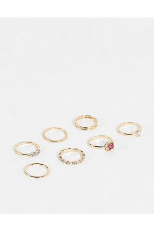 Topshop Ženy Prstýnky - Pink crystal 6 x multipack finger and midi rings in gold