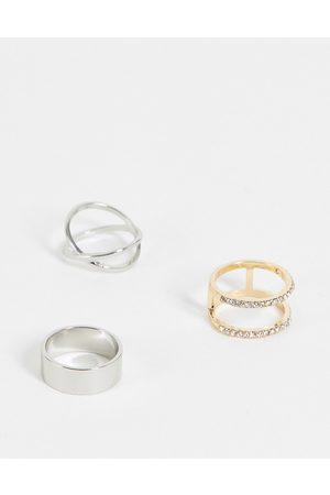 Liars & Lovers Pave and criss cross rings 3 x multipack in gold and silver