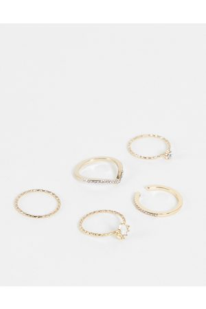 Liars & Lovers Dainty pave 5 x layering rings multipack in gold