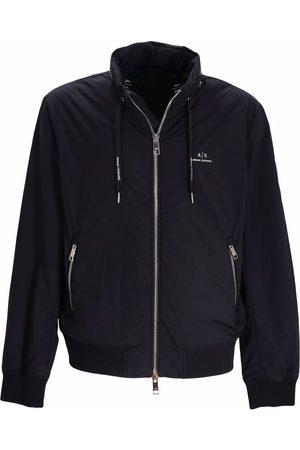 Armani Muži Bombery - Concealed hood bomber jacket