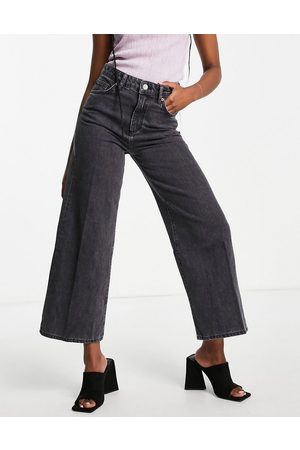 French Connection Piper wide leg jeans in washed black organic cotton