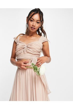 ASOS Ženy Crop top - Bridesmaid ruched crop top with wrap detail co-ord in blush-Pink