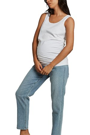 Cotton On Over bump stretch mom jean in mid wash-Blue