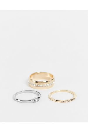 Liars & Lovers Mixed metal and crystal 3 x rings multipack in gold and silver