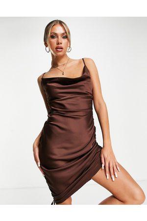 Saint Genies Ženy Na párty - Tie ruching satin mini dress in chocolate-Brown
