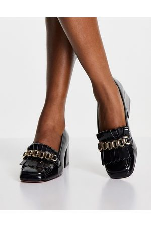 ASOS Spencer mid-heeled chain loafers in black