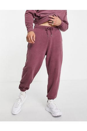 ASOS Co-ord oversized joggers in washed burgundy-Red