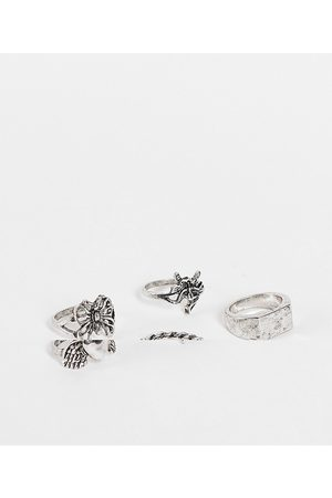 ASOS Ženy Prstýnky - Pack of 5 rings in mixed design in burnished silver