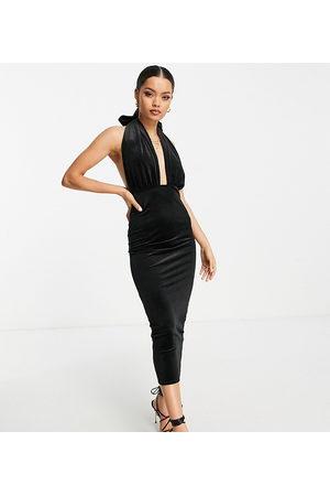 ASOS Ženy Ke krku - ASOS DESIGN Petite velvet halter cross front maxi dress in black