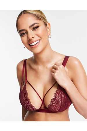 ASOS Fuller Bust Cacia lace triangle strappy bra in deep red-Multi