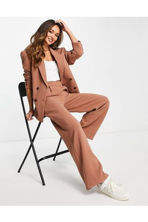 ASOS Double breasted dad suit blazer in camel pinstripe-Multi