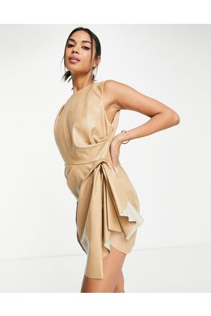 ASOS High neck PU mini dress with tuck detail skirt in camel-Brown