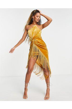 ASOS Velvet one shoulder sarong fringe midi dress in mustard-Orange
