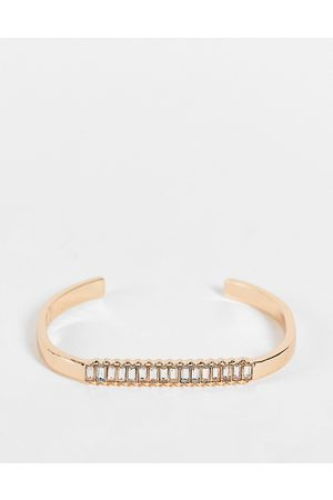 ASOS Cuff bracelet with baguette crystal in gold tone