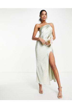 ASOS Bridesmaid one shoulder midaxi dress in satin with drape back in olive-Green