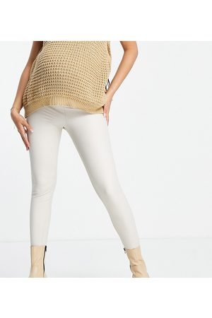 ASOS Ženy Legíny - ASOS DESIGN Maternity over the bump band leather look leggings in stone-Neutral