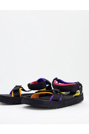 Bershka Velcro sandals with colour block in black