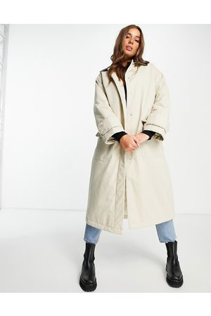ASOS Faux leather collared boyfriend trench coat in stone-Multi