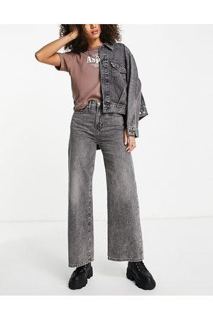 ONLY Ženy S vysokým pasem - Hope high waisted wide leg jeans in washed grey-Blue