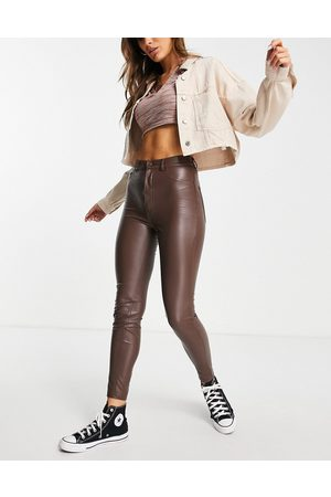 Pull&Bear High waisted faux leather skinny trousers in brown