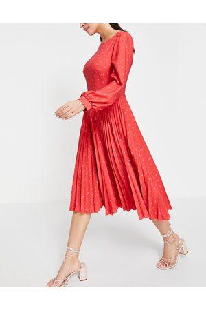 Closet Ženy Midi - Closet Gold Pleated Dress-Red