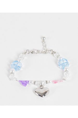 ASOS Bracelet with mixed beads and metal charms in silver tone-Multi