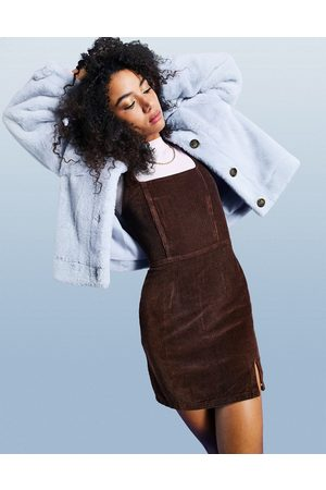 ASOS Cord fitted pinny dress in chocolate-Brown