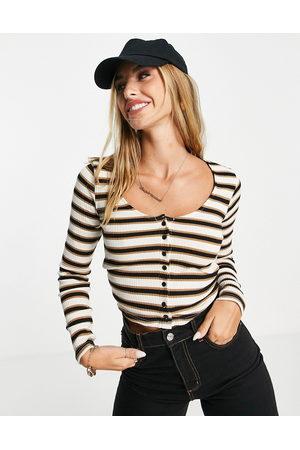 River Island Long sleeve stripe fitted cardi in beige-White