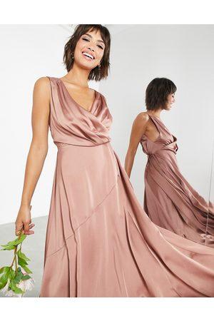 ASOS Satin maxi dress with wrap bodice in cinnamon rose-Copper