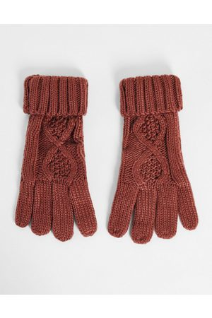 Boardmans Ženy Rukavice - Cable knitted gloves in rust-Orange