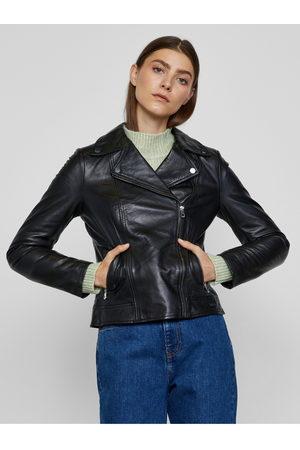 METROOPOLIS Černá kožená bunda Albi