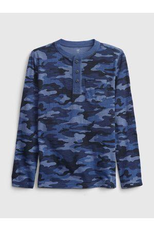 GAP Modré klučičí tričko long sleeve henley
