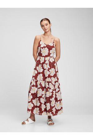 GAP Červené dámské šaty cami v-neck maxi dress